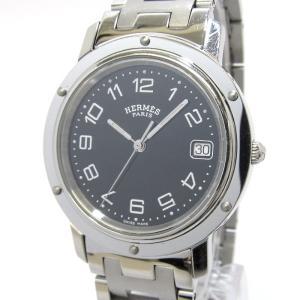 【中古】HERMES クリッパー メンズ腕時計 クオーツ デイト 文字盤ブラック SS CL6.710 エルメス 【メンズ】【watch】|junglejungle