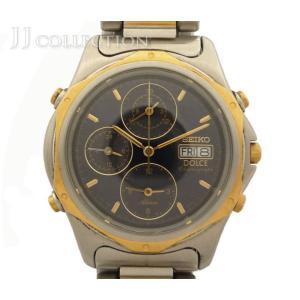 【中古】セイコー メンズ腕時計 DOLCE ドルチェ クロノグラフ SS/18KT クオーツ デイト ブラック文字盤 7T39-6A30|junglejungle