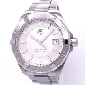 【中古】タグホイヤー アクアレーサー メンズ腕時計 デイト クォーツ SS ホワイト文字盤 WAY1111|junglejungle