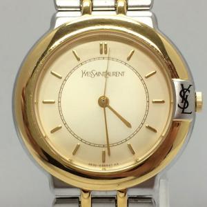 【中古】イブサンローラン レディース 腕時計 SS/GP クオーツ ホワイト ゴールド GN-7-S[jggW]|junglejungle