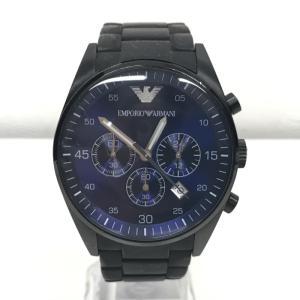 【中古】エンポリオアルマーニ メンズ腕時計 AR-5921 クオーツ クロノグラフ 黒文字盤 ブラック[jggW]|junglejungle