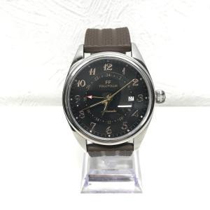 【中古】フォリフォリ レディース腕時計 WT7T011 自動巻き 裏スケ SS/ラバー 黒文字盤 ブラウン[jggW]|junglejungle