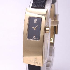 11b1db101f 【中古】フェンディ レディース腕時計 クォーツ ゴールド GP/革 ブラックレザーベルト 黒文字盤 3300L