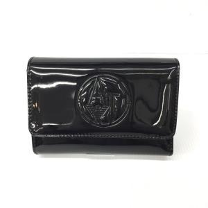 【中古】アルマーニジーンズ 3つ折り財布 パテントレザー ブラック[jggZ]|junglejungle