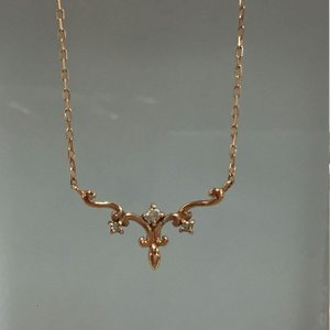 【中古】ダイヤ付き ピンクゴールド ネックレス K10PG/10金 ダイヤ/0.003ct[jggZ]|junglejungle