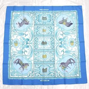 【中古】エルメス カレ90 大判スカーフ LA PRESENTATION 騎士 ブルー シルク100%|junglejungle