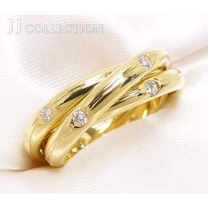 【中古】ティファニー 3連 リング ダイヤモンド K18 イエローゴールド 9号|junglejungle