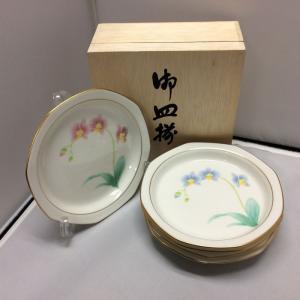 【中古】香蘭社 胡蝶蘭 中皿揃 色違い 5枚セット 八角皿[jggG]|junglejungle