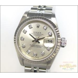 ロレックス デイトジャスト Ref 79174G SS/WG K番 10P新ダイヤ 自動巻き レディース腕時計 シルバー文字盤|junglejungle
