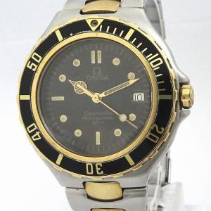 【中古】オメガ ボーイズ腕時計 シーマスター プロフェッショナル クオーツ ブラック文字盤 SS シルバー/ゴールド 396 1042|junglejungle