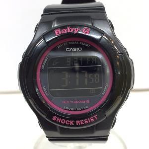 【中古】カシオ ベビージー レディース腕時計 トリッパー BGD-1310 電波ソーラー デジタル ブラック/ピンク ラバー[jggW]|junglejungle