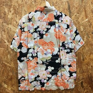 【中古】サンサーフ メンズ アロハシャツ 菊 着物デザインスペシャル ブラック系 表記サイズ:M[jggI]|junglejungle|02