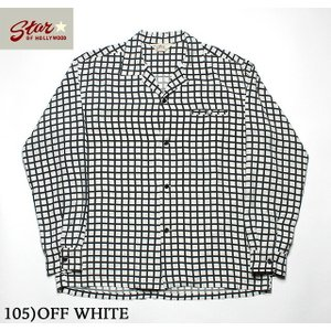 """No.SH28125 STAR OF HOLLYWOODL/S OPEN SHIRT""""SQUARE GRID"""" junkyspecial"""