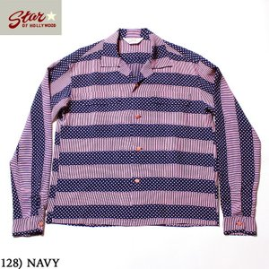"""No.SH28381 STAR OF HOLLYWOODHIGH DENSITY RAYONL/S OPEN SHIRT""""STRIPES"""" junkyspecial"""