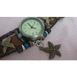 腕時計 ブレスレットウォッチI アンティーク レザー ヒトデ|junna0801koei