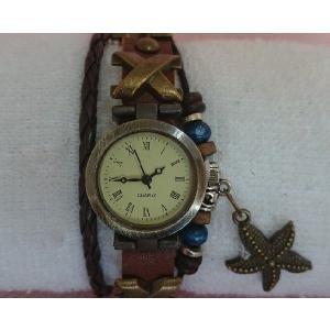 腕時計 ブレスレットウォッチI アンティーク レザー ヒトデ|junna0801koei|02