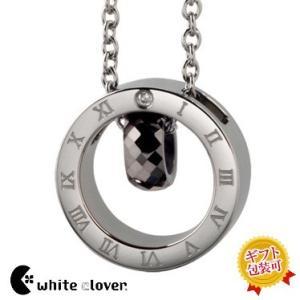 送料無料 ステンレスサークルトップタングステンネックレス/ブラック4SUP025BK/white clover/ホワイトクローバー sale|juraice