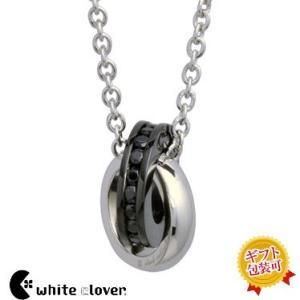 送料無料 キュービック2連リンクネックレス/black 4SUP036BK/white clover/ホワイトクローバー sale|juraice