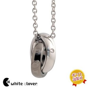 送料無料 ダイヤモンド2連シェアハートリンクネックレス/black 4SUP041BK/white clover/ホワイトクローバー sale|juraice