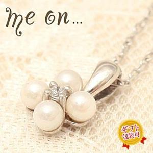 【me on...】お取り寄せ/60590/淡水パールダイヤモンド/フラワーK10ホワイトゴールドネックレス/ミーオン sale juraice