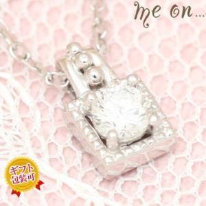 【me on...】お取り寄せ/63547/スクウェアペンダント/ダイヤモンドK10ホワイトゴールドネックレス/ミーオン sale|juraice