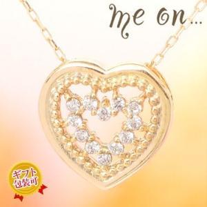 【me on...】お取り寄せ/65516/透け感のあるダブルハートモチーフがリュクス感アップ/K10イエローゴールド天然ダイヤモンド/ハート ネックレス/ミーオン sale|juraice