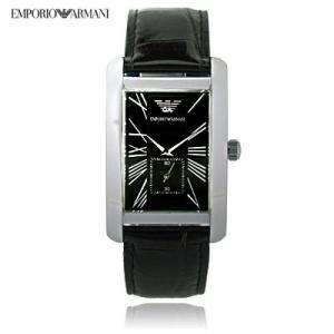 送料無料 エンポリオ・アルマーニ AR0143 クラシック スモールセコンド レザー / ブラック メンズ  腕時計|juraice