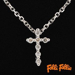 フォリフォリ 10K ff-10k2n8w089c/WG クロスネックレス ホワイトゴールド キュービックジルコニア Folli Follie|juraice