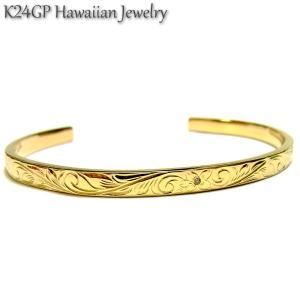 ハワイアンジュエリー バングル K24gp  24kgp K24gp  K24  イエローゴールド メンズ レディース 石 ジルコニア 記念日 誕生日 プレゼント ギフト sale|juraice