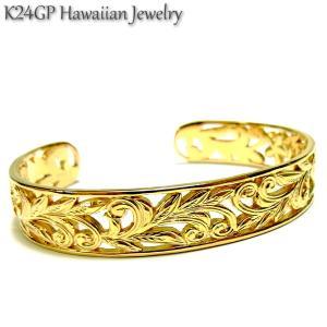 ハワイアンジュエリー バングル K24gp  24kgp K24gp  K24  イエローゴールド メンズ レディース 記念日 誕生日 プレゼント ギフト sale|juraice