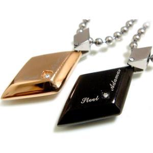 ペアネックレス ダイヤモンド ブラック ペンダント ピンク ステンレス SteelAdamas 年度末 sale|juraice