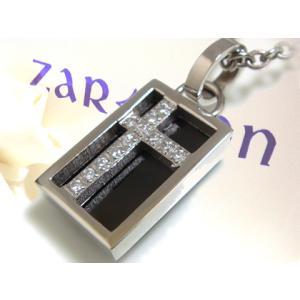 【ZARGON】ザルゴンCZブラックステンレスペンダント/ブラック/天然/ダイヤモンド/黒/ステンレス/アクセサリー/クロス/プレート 年度末 sale|juraice