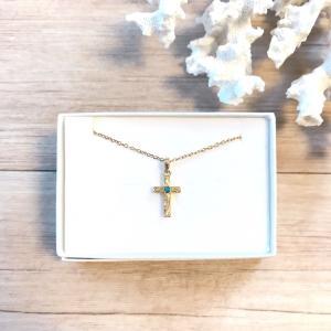 Leinaniオリジナル ハワイアンジュエリー 十字架 ターコイズ ネックレス|juraice