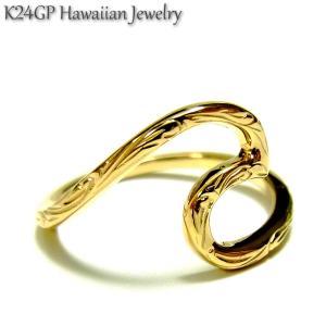 ハワイアンジュエリー リング K24gp  24kgp K24gp  K24  イエローゴールド メンズ レディ−ス プルメリア スクロール  記念日 誕生日  sale|juraice