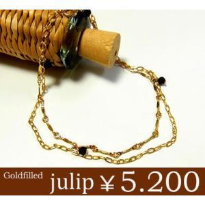 julip 14KGF Goldfilled 2連オニキスコネクトゴールドブレスレット 星 ハンドメイド ブラック 年度末 sale juraice