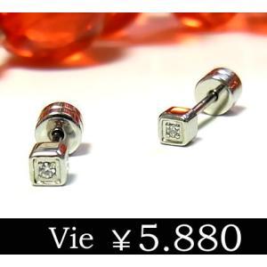 【vie】キュービックジルコニアスクエアステンレスピアス/ヴィー/st sale|juraice