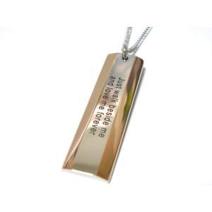 【S-GROWN】CZピンクゴールドメッセージプレートペンダント/ステンレスアクセサリーst/低価格/ピンク/プレート 年度末 sale|juraice