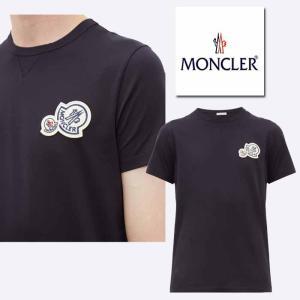 モンクレール MONCLER  ダブルロゴ コットンTシャツ ネイビー|jurer-store