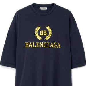 バレンシアガ BALENCIAGA BBロゴプリント Tシャツ オーバーサイズ ネイビー 535622TAV044128|jurer-store