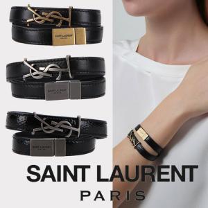 サンローラン Saint Laurent ロゴプレート レザーブレスレット 二重|jurer-store