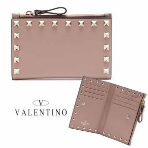 ヴァレンティノ  VALENTINO ロックスタッズ 二つ折り財布 トープ|jurer-store