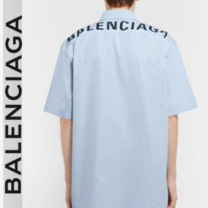 SALE!バレンシアガ BALENCIAGA バックロゴプリント ブルー半袖シャツ オーバーサイズ|jurer-store