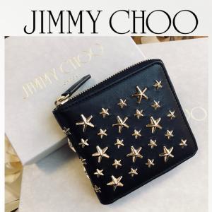 ジミーチュウ Jimmy Choo コインケースLAWRENCE ラウンドジップ二つ折り財布 ギフトにも♪ブラック/BLACK|jurer-store