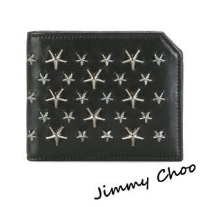 ジミーチュウ Jimmy Choo ALBANY 二つ折り財布 ブラック×ガンメタル|jurer-store