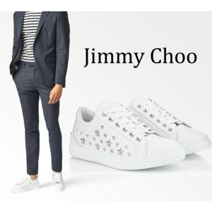 ジミーチュウ Jimmy Choo Cash レザースニーカー ホワイト サイズ40(日本サイズ25cm)|jurer-store