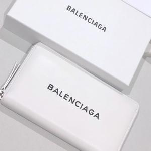 バレンシアガ ロゴ長財布 バレンシアガロゴ EVERYDAY ホワイト 旧ロゴタイプ|jurer-store