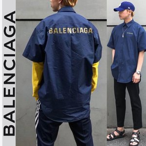 バレンシアガ BALENCIAGA ロゴ バックプリント オーバーサイズ シャツ 半袖 ブルー|jurer-store
