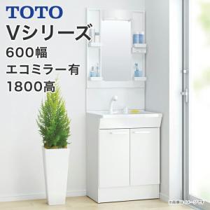 TOTO 洗面化粧台 Vシリーズ 600幅 2枚扉タイプ LED照明 1面鏡 高さ1800mm対応 エコシングルシャワー水栓 LMPB060B1GDC1G LDPB060BAGEN1|jusetsuhills