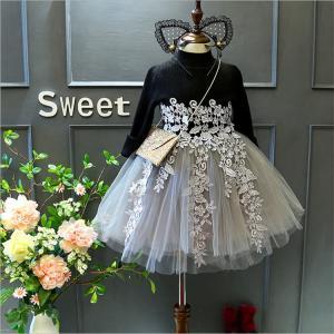 子どもドレス キッズワンピース ベビー 赤ちゃん 長袖 チュールスカート 黒ワンピ ピアノ 発表会 韓国子供服 卒園式 ふわふわ 結婚式 七五三 可愛い