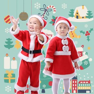 サンタ コスプレ 子供 男の子 女の子 クリスマス サンタ 衣装 サンタクロース コスチューム 裏起...